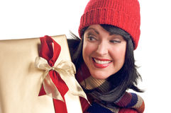 Attractive Woman Holds Gift Stock Photo