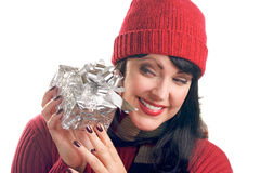 Attractive Woman Holds Gift Royalty Free Stock Photography