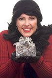 Attractive Woman Holds Gift royalty free stock images