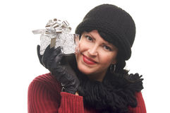 Attractive Woman Holds Gift Stock Image
