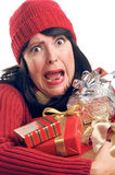 Attractive Woman Holds Gifts Royalty Free Stock Images