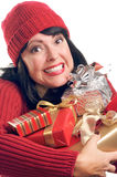 Attractive Woman Holds Gifts Stock Photo