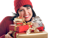 Attractive Woman Holds Gifts Royalty Free Stock Photos