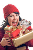 Attractive Woman Holds Gifts Stock Photography