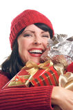Attractive Woman Holds Gifts Stock Images