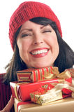 Attractive Woman Holds Gifts Royalty Free Stock Image