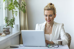 Attractive woman in the home office working on laptop. Stock Images