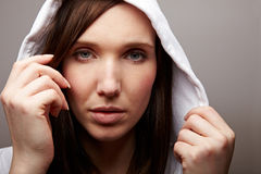 Attractive woman with hoodie Stock Photo