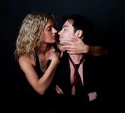 Attractive woman hug her boyfriend. Picture of sexy blond girl hug her boyfriend Royalty Free Stock Image