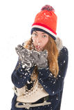 Attractive woman with ice skates Royalty Free Stock Photography