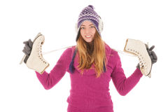 Attractive woman with ice skates Royalty Free Stock Photo