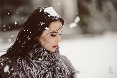 Attractive Woman In White And Gray Fur Coat Royalty Free Stock Photo