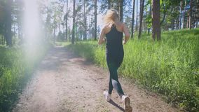 Attractive woman jogging on the trail in the park. Sport and recreation. Sporty lifestyle. Sunlight. Back view stock footage