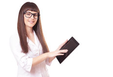 Attractive woman in a lab white coat with tablet pc Royalty Free Stock Photography
