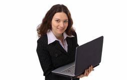 Attractive woman with laptop Royalty Free Stock Images