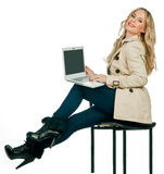 Attractive woman with laptop Royalty Free Stock Photos