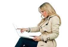 Attractive woman with laptop Stock Photo