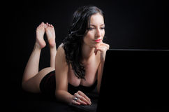 Attractive Woman With Laptop Royalty Free Stock Image