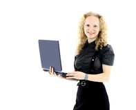 Attractive woman with laptop smiling isolated background on white Royalty Free Stock Images