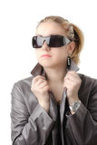 Attractive woman in a leather Royalty Free Stock Image