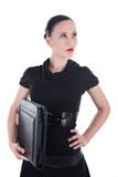Attractive woman with leather case Stock Photos