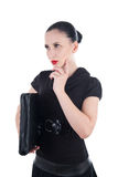 Attractive woman with leather case Royalty Free Stock Images