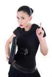 Attractive woman with leather case and finger up Stock Images