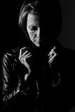 Attractive Woman in Leather Jacket Royalty Free Stock Photo