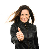 Positive spirit. Attractive woman on leather jacket with positive sprit Stock Image