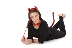 Attractive woman like black bogy smiling Royalty Free Stock Images