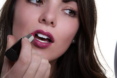 Attractive woman with lipstick Royalty Free Stock Photos
