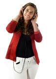 Attractive woman listen music Royalty Free Stock Images
