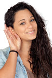 Attractive woman listening Royalty Free Stock Photos