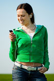 Attractive woman listening music Stock Photos