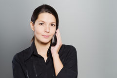 Attractive woman listening to a conversation Royalty Free Stock Image