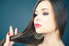Attractive woman long beautiful hair dyed hair color Stock Photography