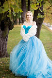 Attractive woman in long blue dress in park. Blond Stock Images