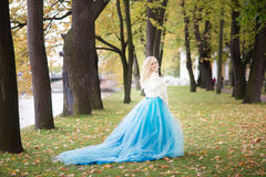 Attractive woman in long blue dress in park. Blond Stock Photography