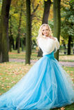 Attractive woman in long blue dress in park. Blond Stock Image