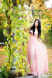Attractive woman in long pink dress in park. Royalty Free Stock Images