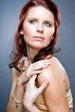 Attractive woman with long red hair. Royalty Free Stock Photos