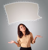 Attractive woman looking abstract speech bubble copy space Royalty Free Stock Images