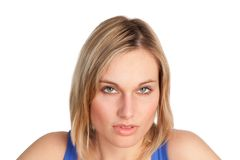 Attractive woman looking at camera while a smile. Pretty Woman isolated against White 1 with a pensive look Stock Photos