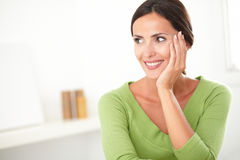 Attractive woman looking young and satisfied Royalty Free Stock Image