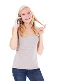 Attractive woman making phone call. Attractive young woman making a phone call. All on white background Royalty Free Stock Photo