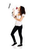 Attractive woman with megaphone. Stock Image