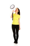 Attractive woman with megaphone. Royalty Free Stock Image