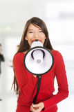 Attractive woman with megaphone. Stock Photography