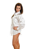 Attractive woman in mens shirt. Stock Photo