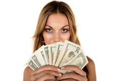 Attractive Woman and money Royalty Free Stock Photo
